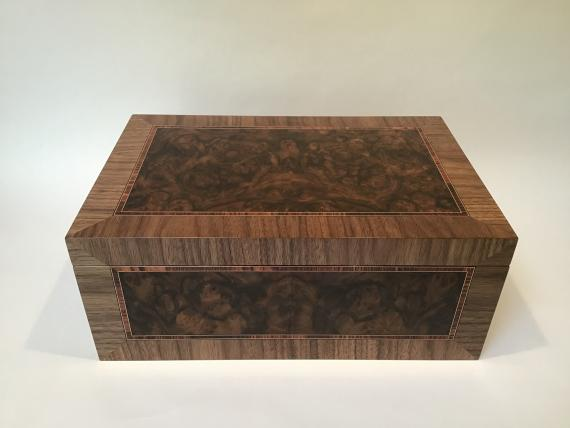 Panelled Burr Walnut Jewellery Box